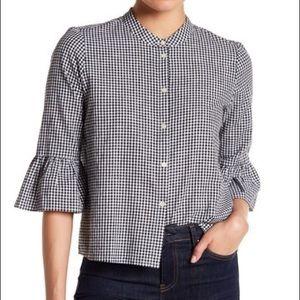 Madewell gingham bell sleeve button down shirt